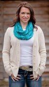 Wrapped product teal scarf